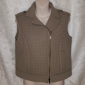 W by Worth New York Punchout Beige Tan Jacket Vest